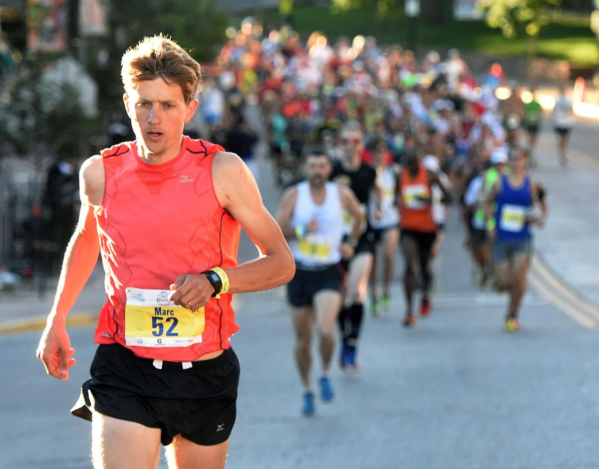 Swiss dentist Marc Lauenstein was the men's winner of the Pikes Peak Marathon with a time of 5 hours and 58 seconds.. (The Gazette/Jerilee Bennett)