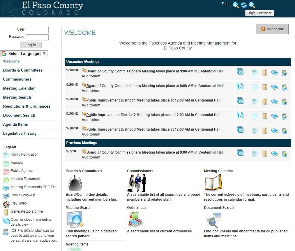 El Paso County Agenda Management System