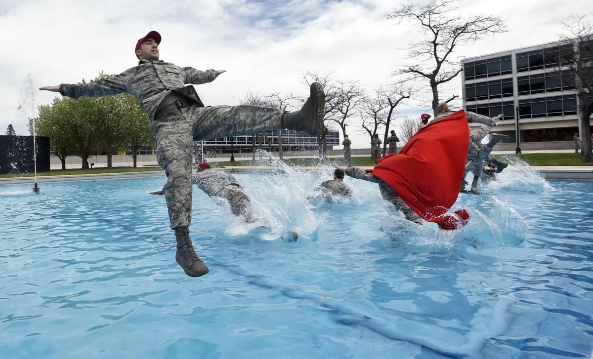 A watery tradition follows finals for senior Air Force Academy cadets