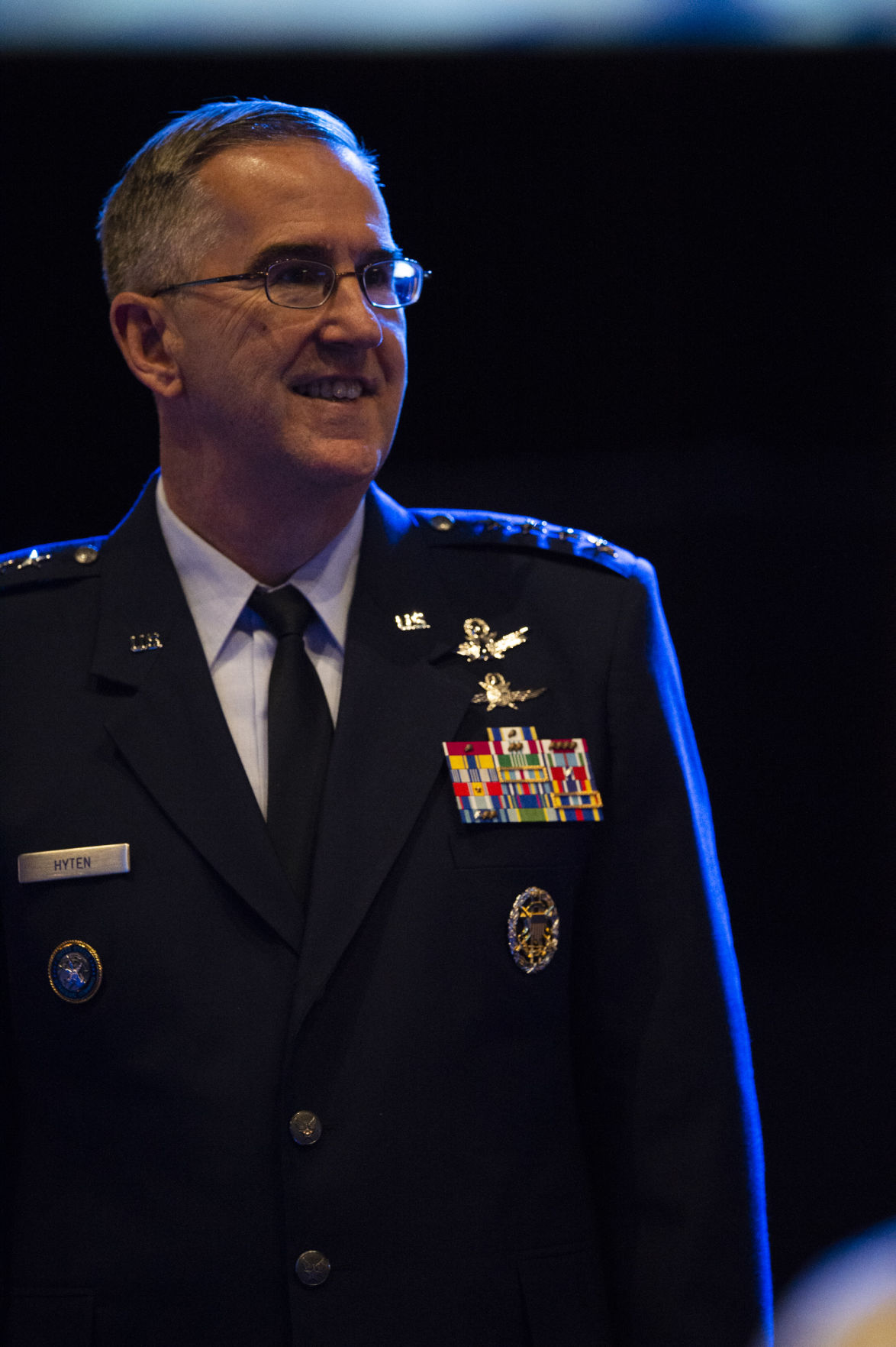 Commander of U.S. Strategic Command in Omaha Gen. John Hyten waits for Vice President Michael Pence to give opening remarks in the International Center at the 34th Space Symposium at the Broadmoor Hotel on Monday, April 16, 2018.  (Nadav Soroker, The Gazette)