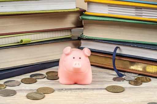 Pink piggy bank with books and coins on wooden background. Conce