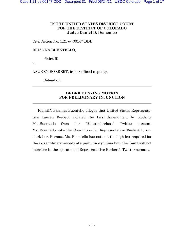 US District Court ruling on Boebert's twitter account