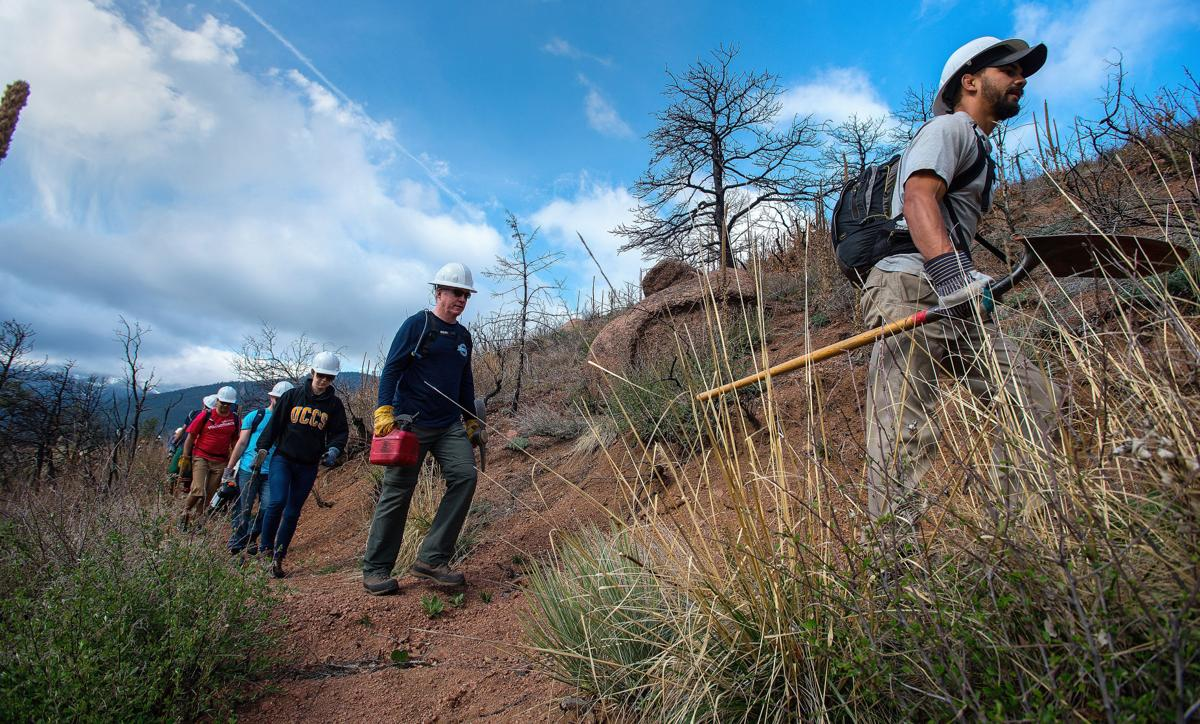 Rocky Mountain Field Institute volunteers hike down the Waldo Canyon Trail just past the Waldo Canyon Lookout Friday, May 1, 2015, to build log erosion barriers above the trail. (The Gazette, Christian Murdock)