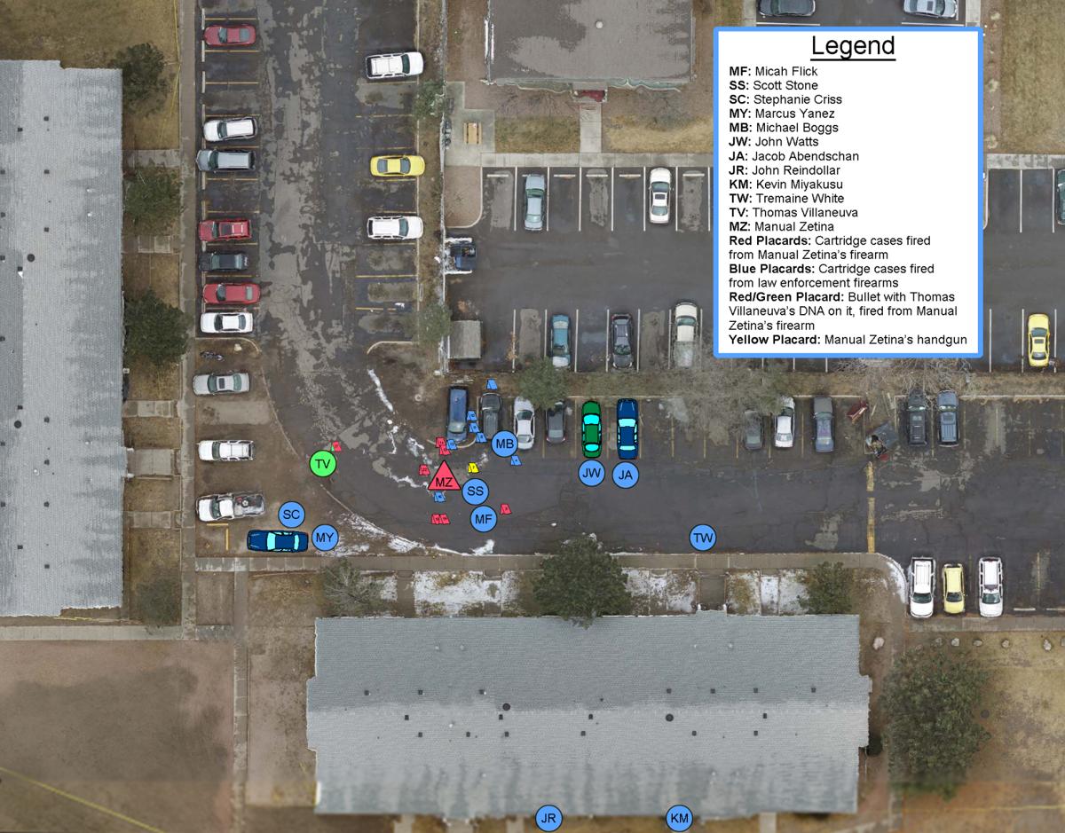 Aerial diagram of the Feb. 5 fatal shooting of Micah Flick, Manuel Zetina