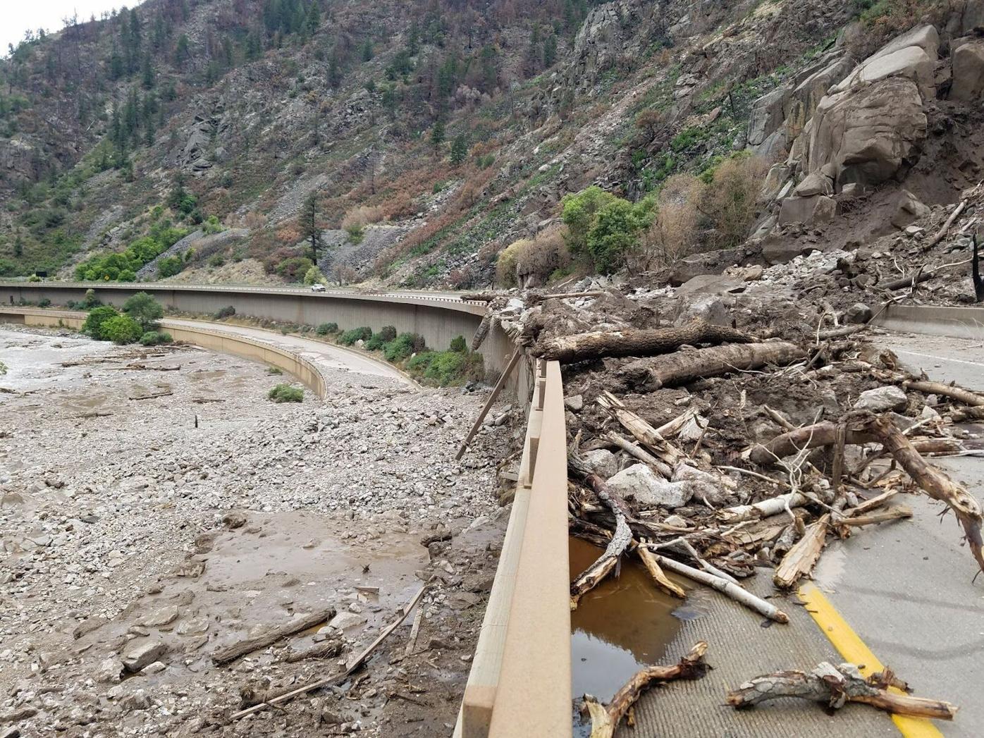 I-70 Damage from mudslides July 2021 (Photo) Courtesy Colorado Department of Transportation.