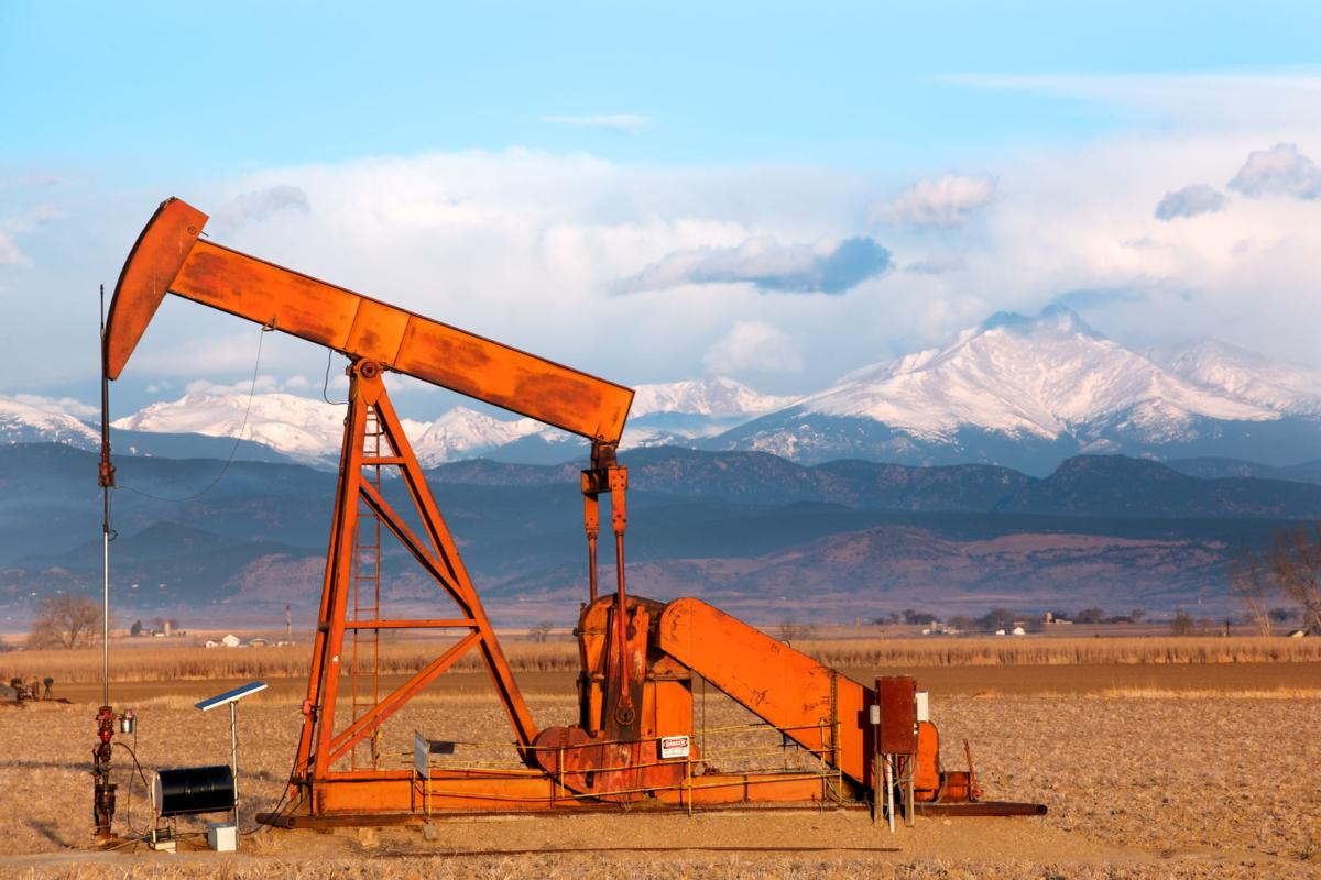 Oil Pump and Longs Peak, Colorado
