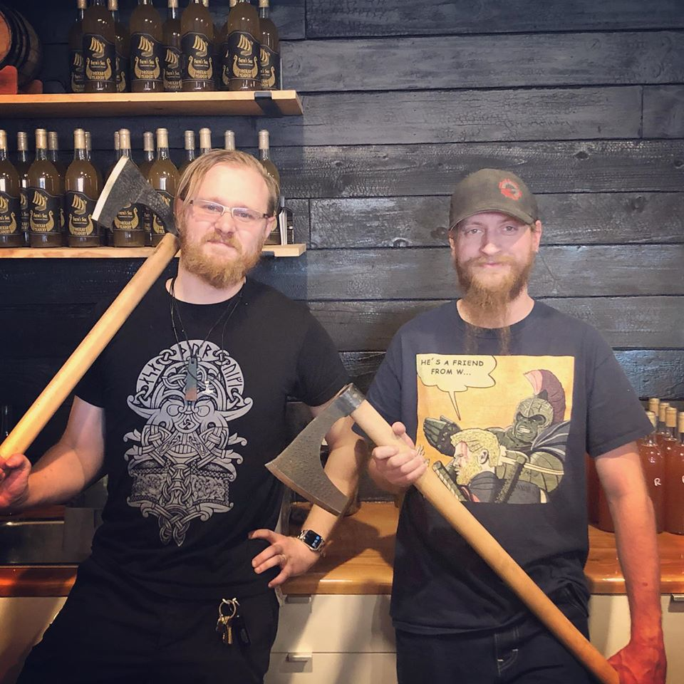 "Drekar Meadery's co-owners Tim Martin and Mike Sonderby will mark the grand opening of their Viking-themed tasting room with a ""ribbon-axing."""