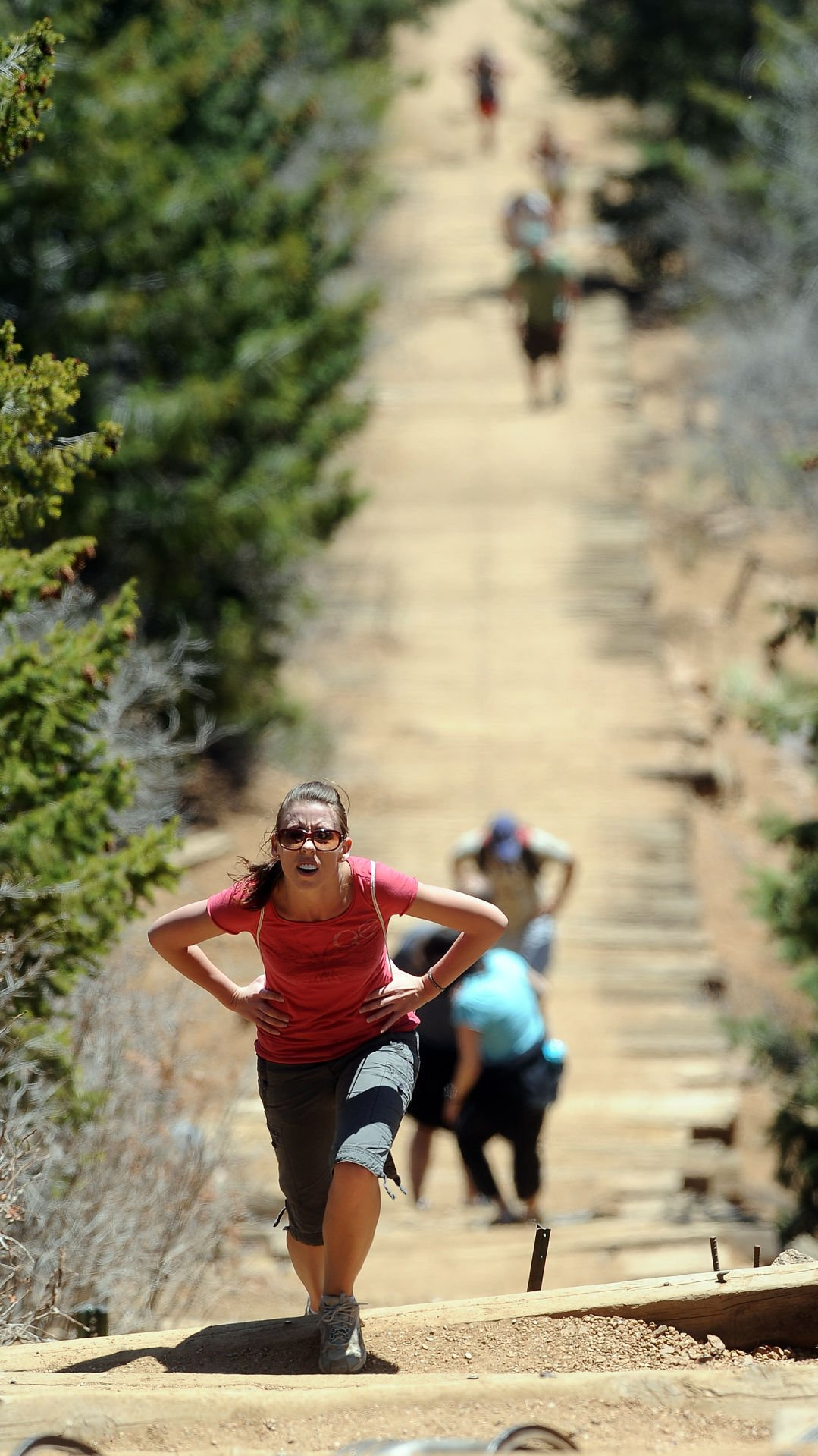Michelle Carroll of Colorado Springs, Colo., climbs the 1.2-mile Incline in Manitou Springs, Thursday, May 6, 2010. She decided to make the 2,000-foot elevation gain before starting a new job on Friday. (The Gazette, Christian Murdock)
