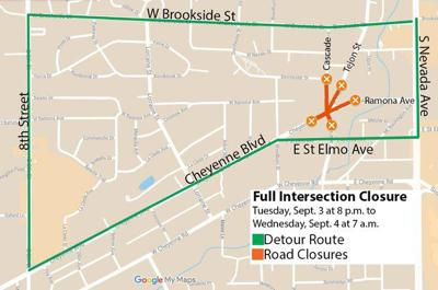 Road closures and detour map for Ivywild intersection construction