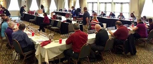 Judges congregate for the wine-tasting competition