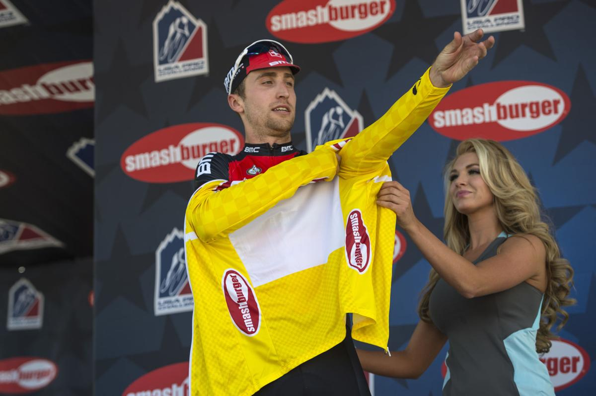 BMC Racing's Taylor Phinney of Boulder, Colo., puts on the yellow jersey after winning Stage 1 Monday, Aug. 17, 2015, during the 2015 USA Pro Challenge in Steamboat Springs, Colo. Stage 1 is a two-lap, 97 miles circuit beginning and ending in Steamboat Springs. (The Gazette, Christian Murdock)