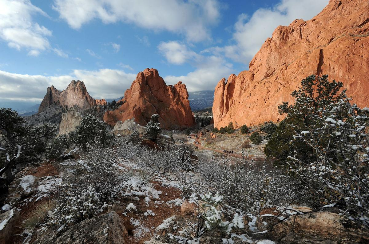 A dusting of snow lies on the rocks in Garden of the Gods Friday, Oct. 26, 2012, after the first snowstorm on the season hit the Colorado Springs, Colo., area Thursday night. (The Gazette, Christian Murdock)