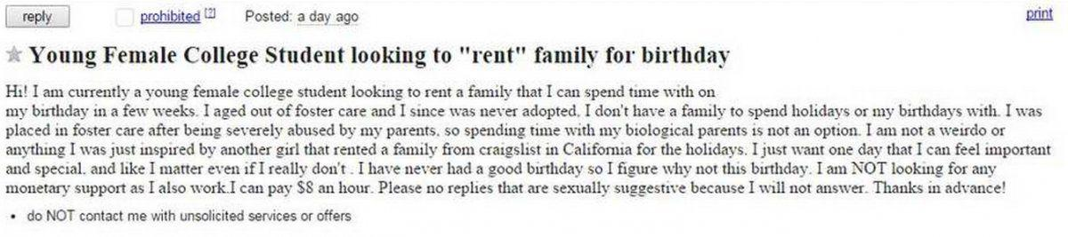 Colorado Teen Posts Craigslist Ad To Rent A Family For Her Birthday Colorado Springs News Gazette Com We are sorry, the site has not properly responded to your request. colorado teen posts craigslist ad to