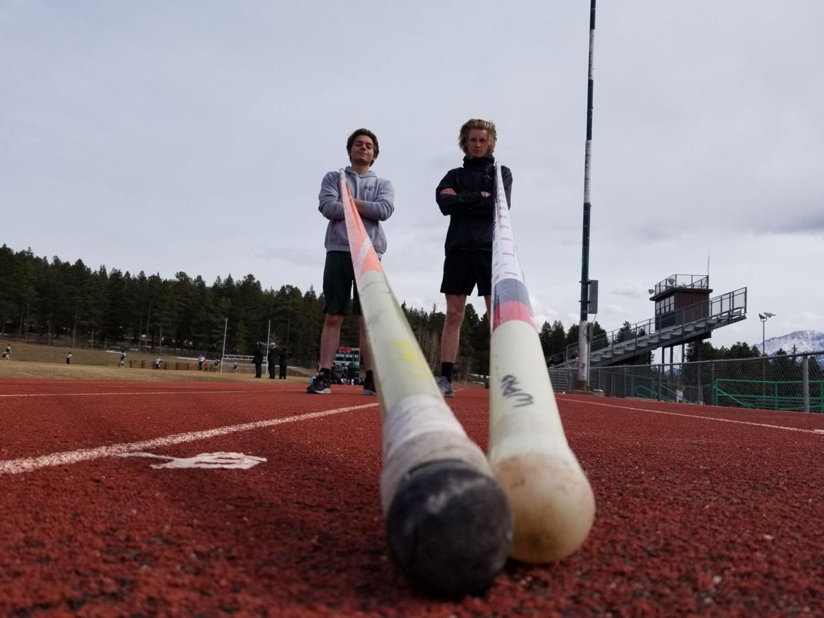 Woodland Park pole vaulters Gunnar Grace, left, and Chase Graves