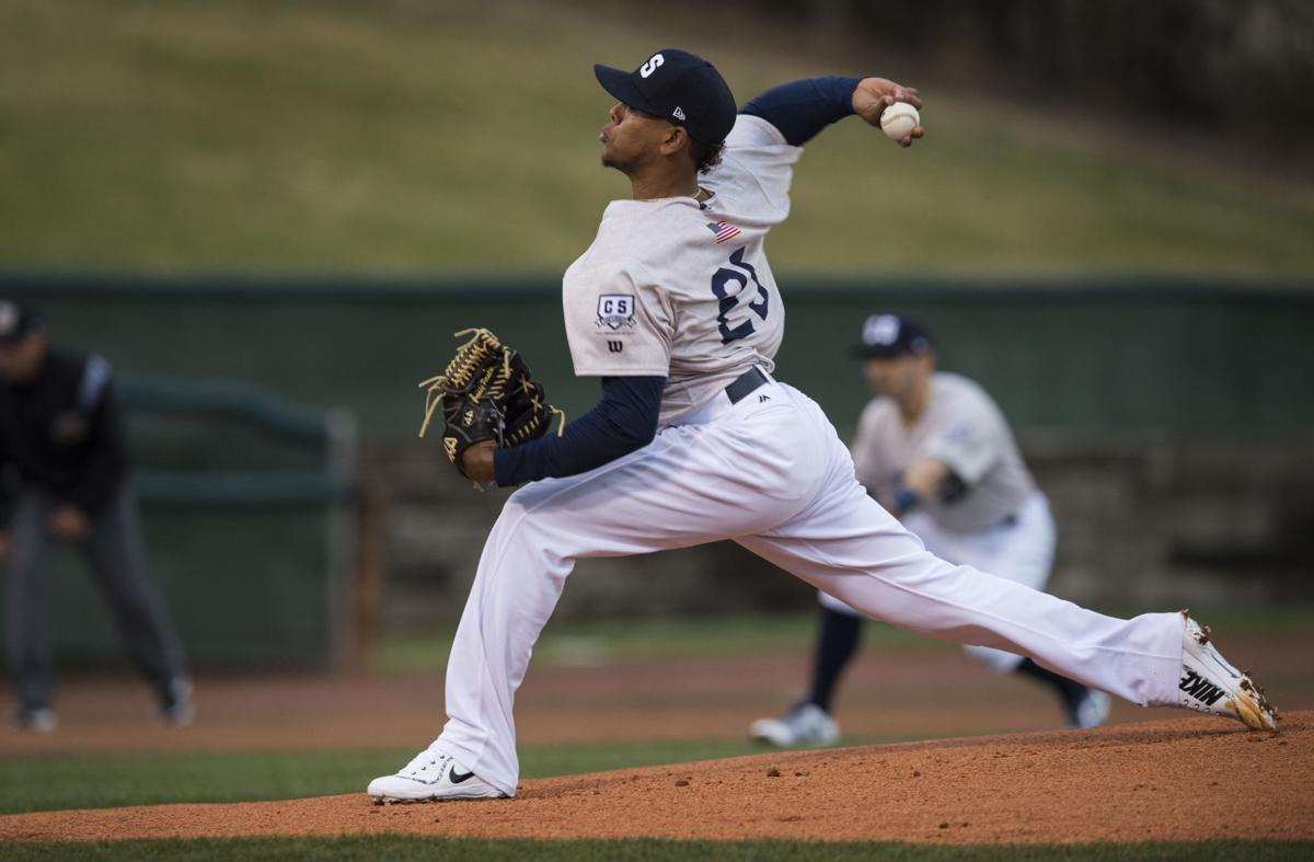 Sky Sox pitcher Freddy Peralta delivers a pitch against a New Orleans batter during the first inning of the Sky Sox home opener against New Orleans Tuesday, April 10, 2018, at Security Service Field in Colorado Springs.  (The Gazette, Christian Murdock)