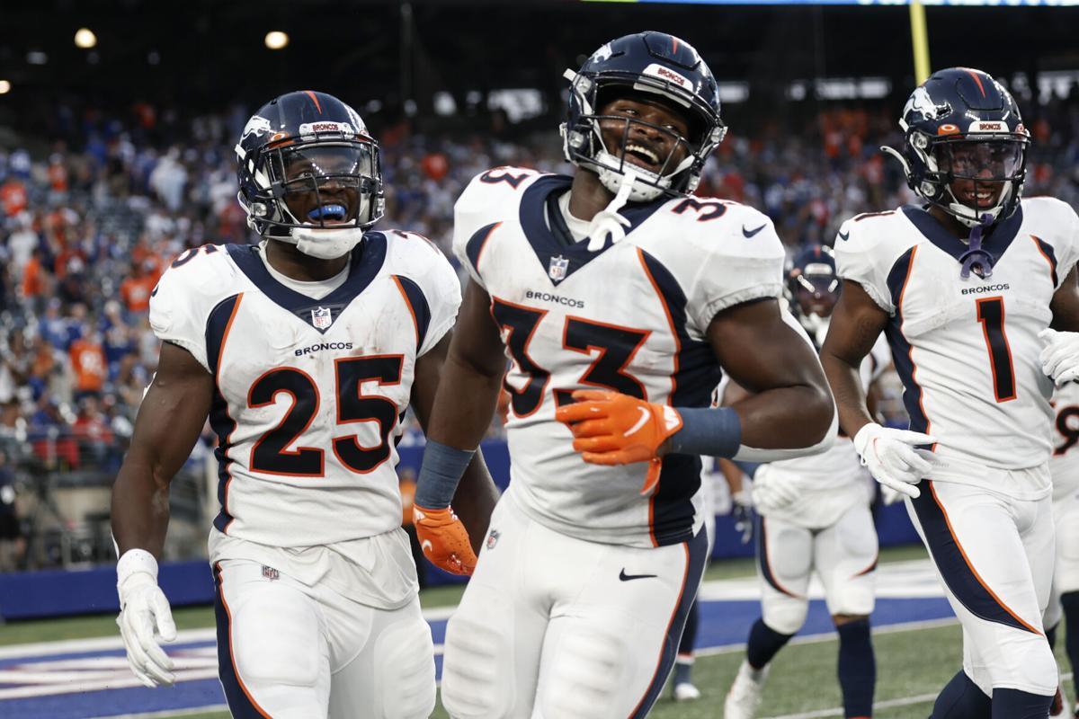 Broncos Giants Football Gordon, Williams, Hamler