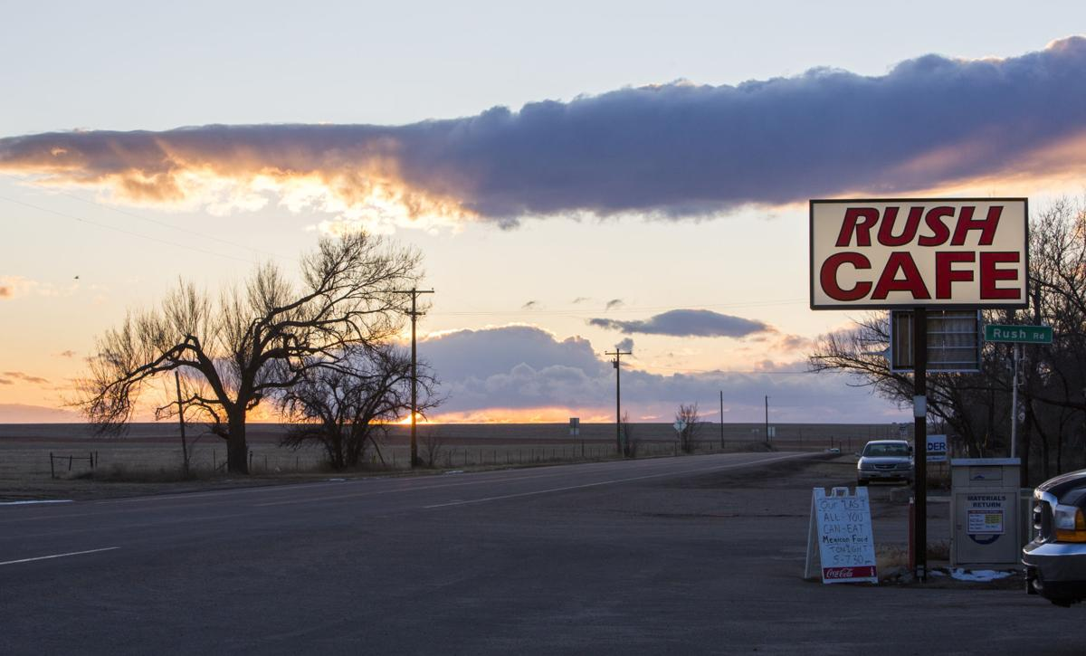 The sun sets down CO-94 as the Rush Cafe hosts its last all-you-can-eat dinner before it closes in Rush, Colorado Wednesday, February 21, 2018. The cafe, opened in 1959 by Woody and Betty Thieman, is closing after 59 years.(Nadav Soroker, The Gazette)