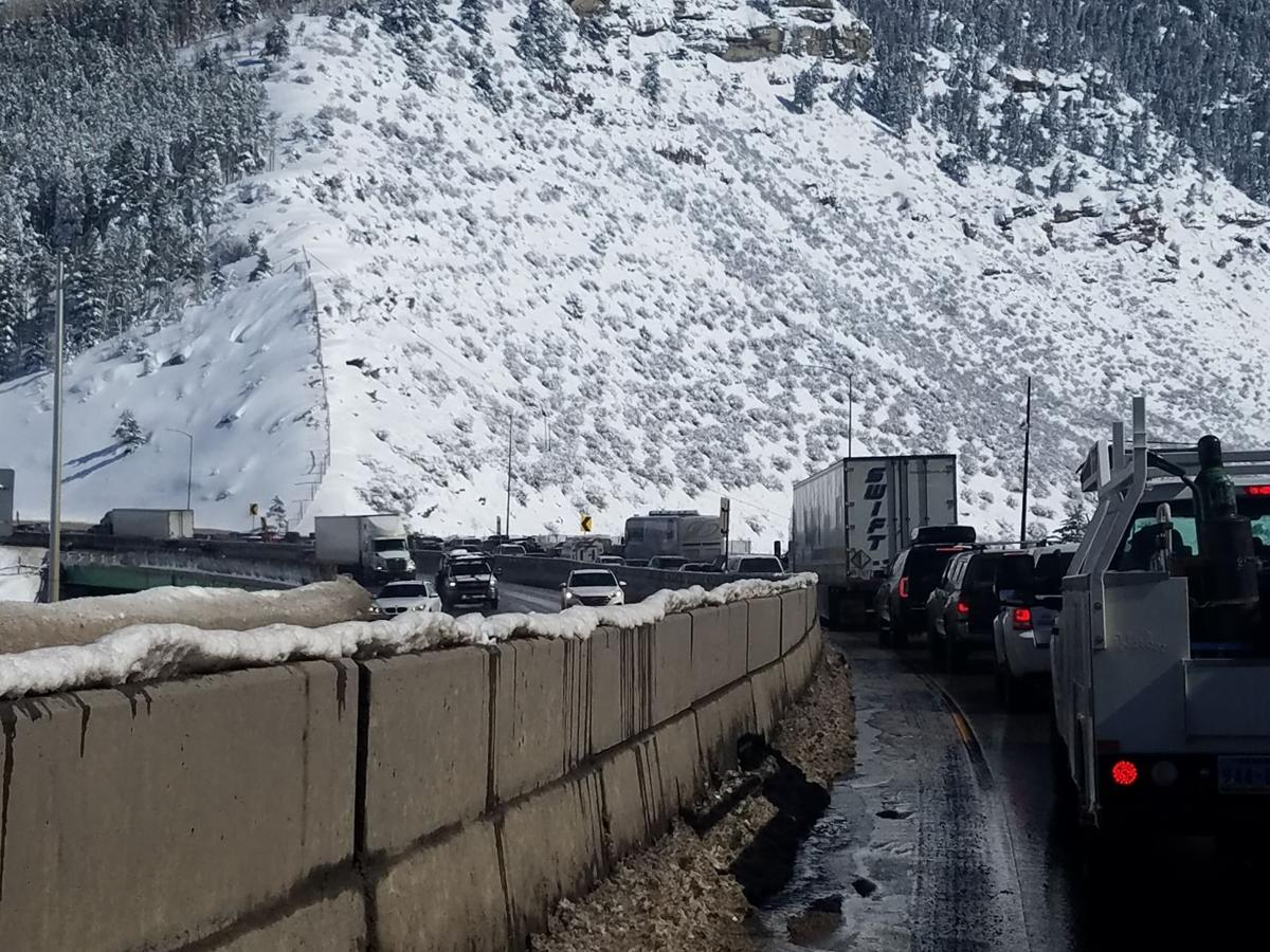 A traffic jam on Interstate 70 at Down Junction in Eagle County.