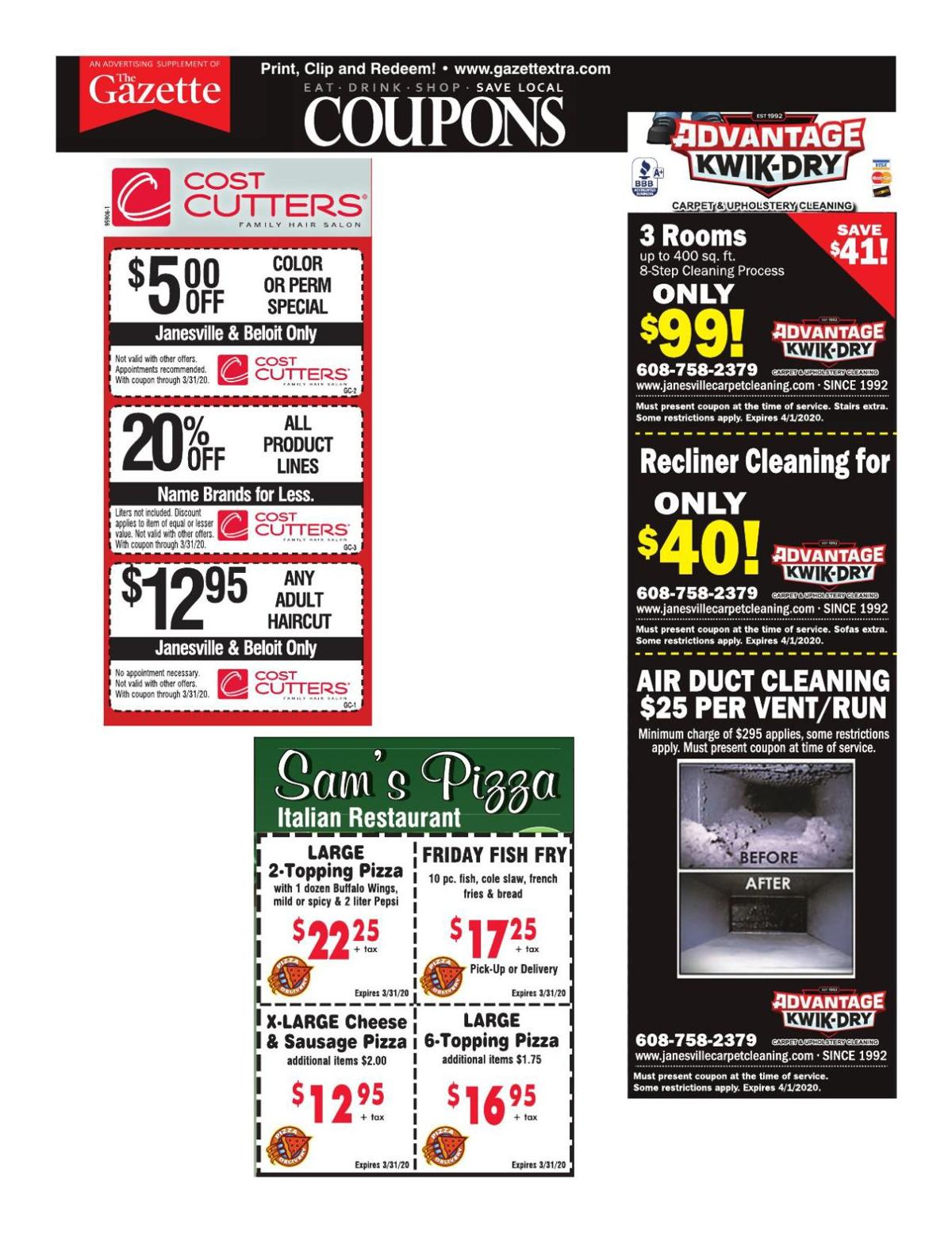 Gazette coupons