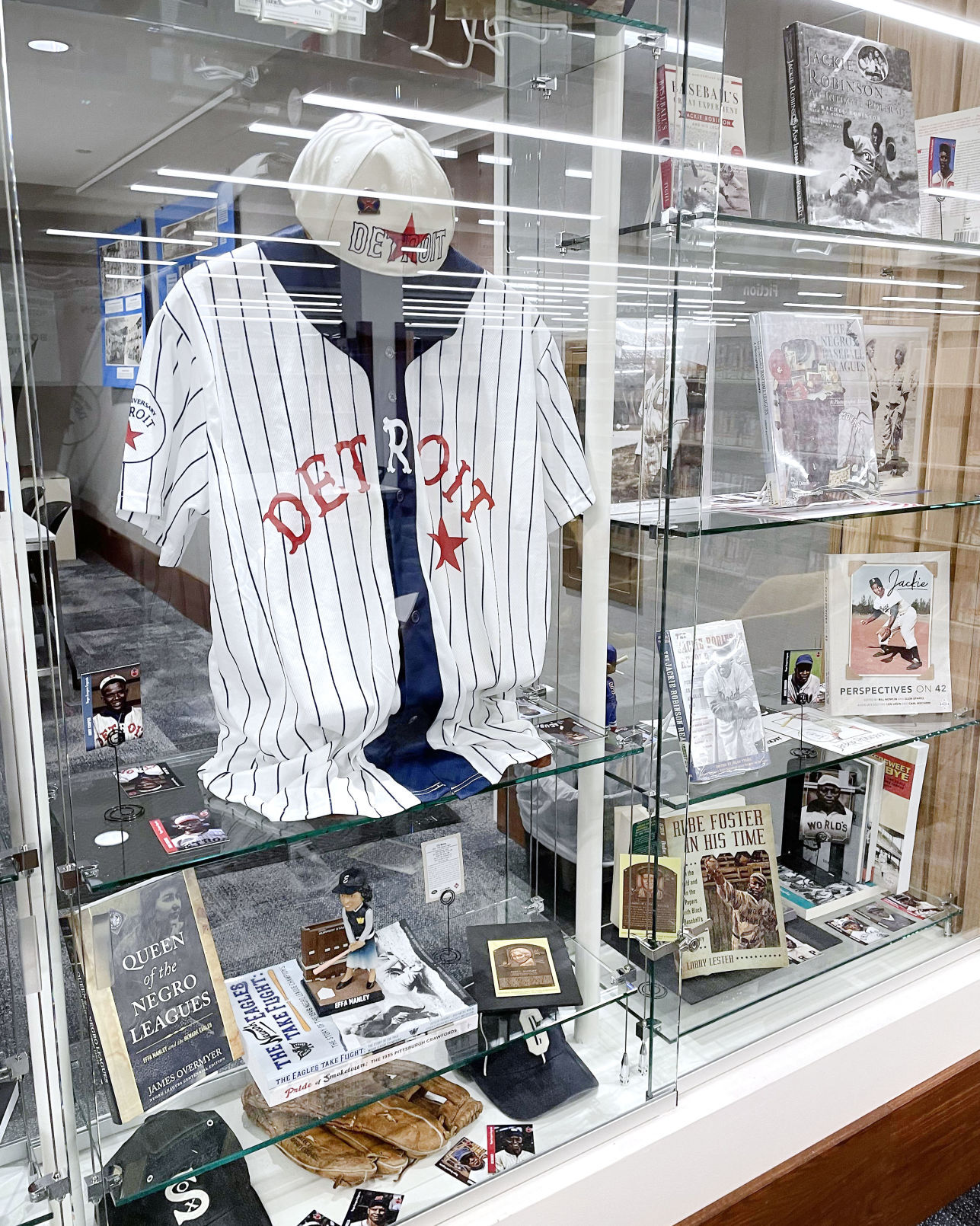 Negro Leagues memorabilia display at Hedberg Public Library