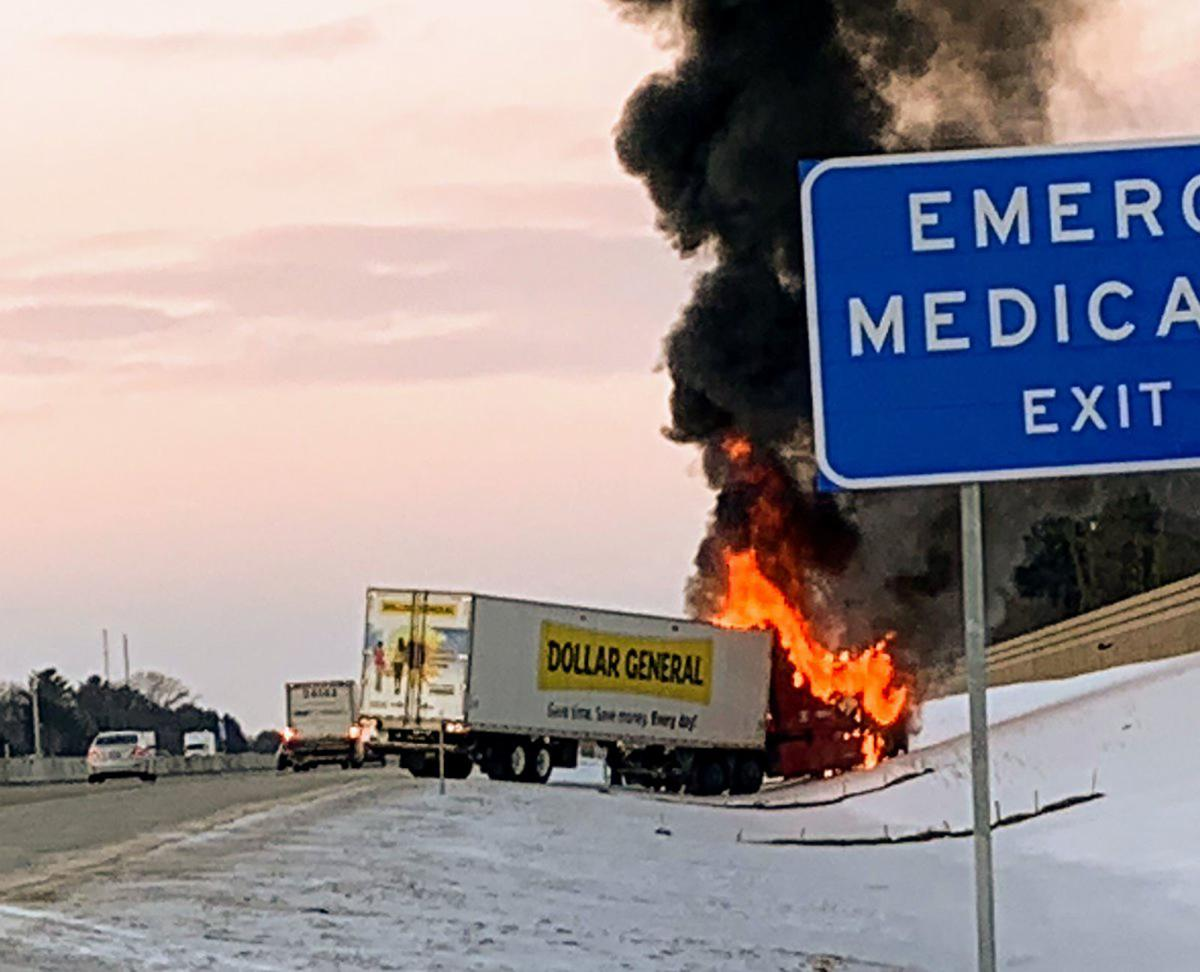UPDATED: Semi catches fire on I-90/39 in Janesville | No