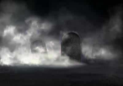 Old Cemetery At Night Realistic With Sloping Gravestones Covered Thick Fog In Darkness Illustration.