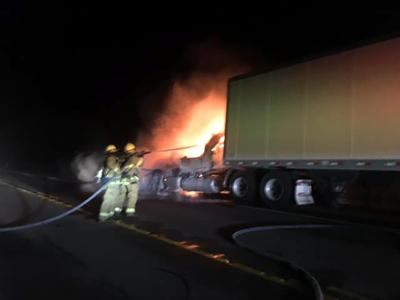 Sharon fire officials report well-involved fire in semitrailer truck