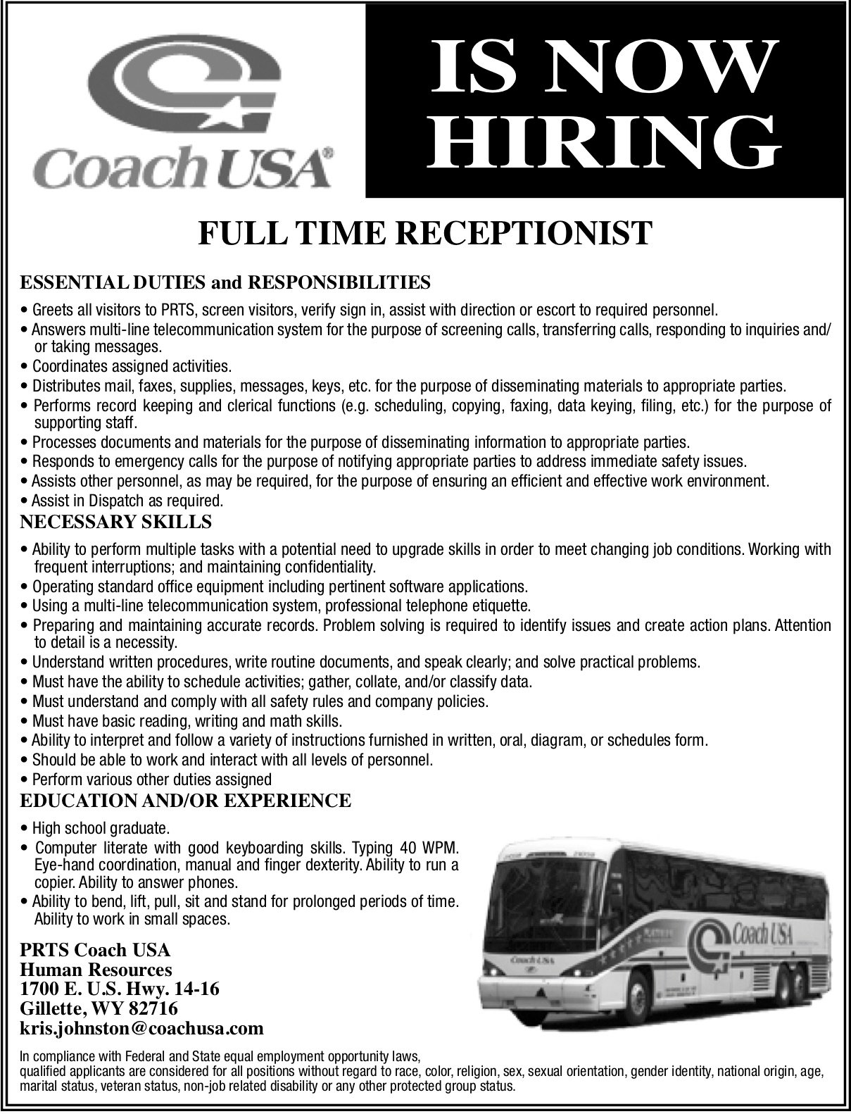 Coach, USA - Receptionist