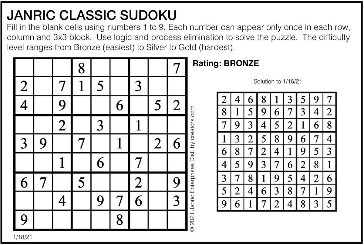 January 18 Sudoku