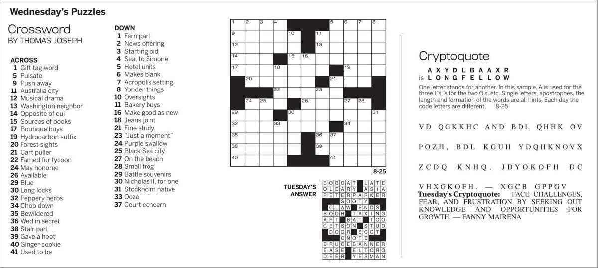 Puzzles, Wedneday, August 25