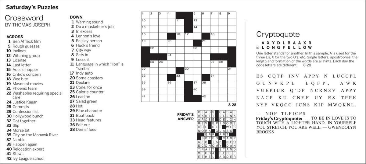 Puzzles, Saturday, August 28