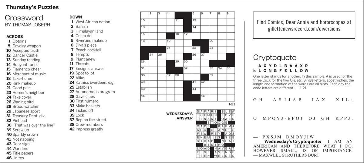 Puzzles, Thursday, January 21