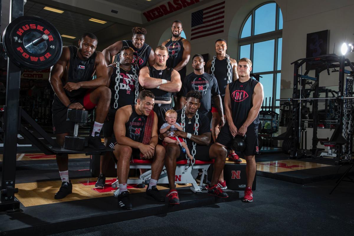 Nebraska football players with Orah Garst III