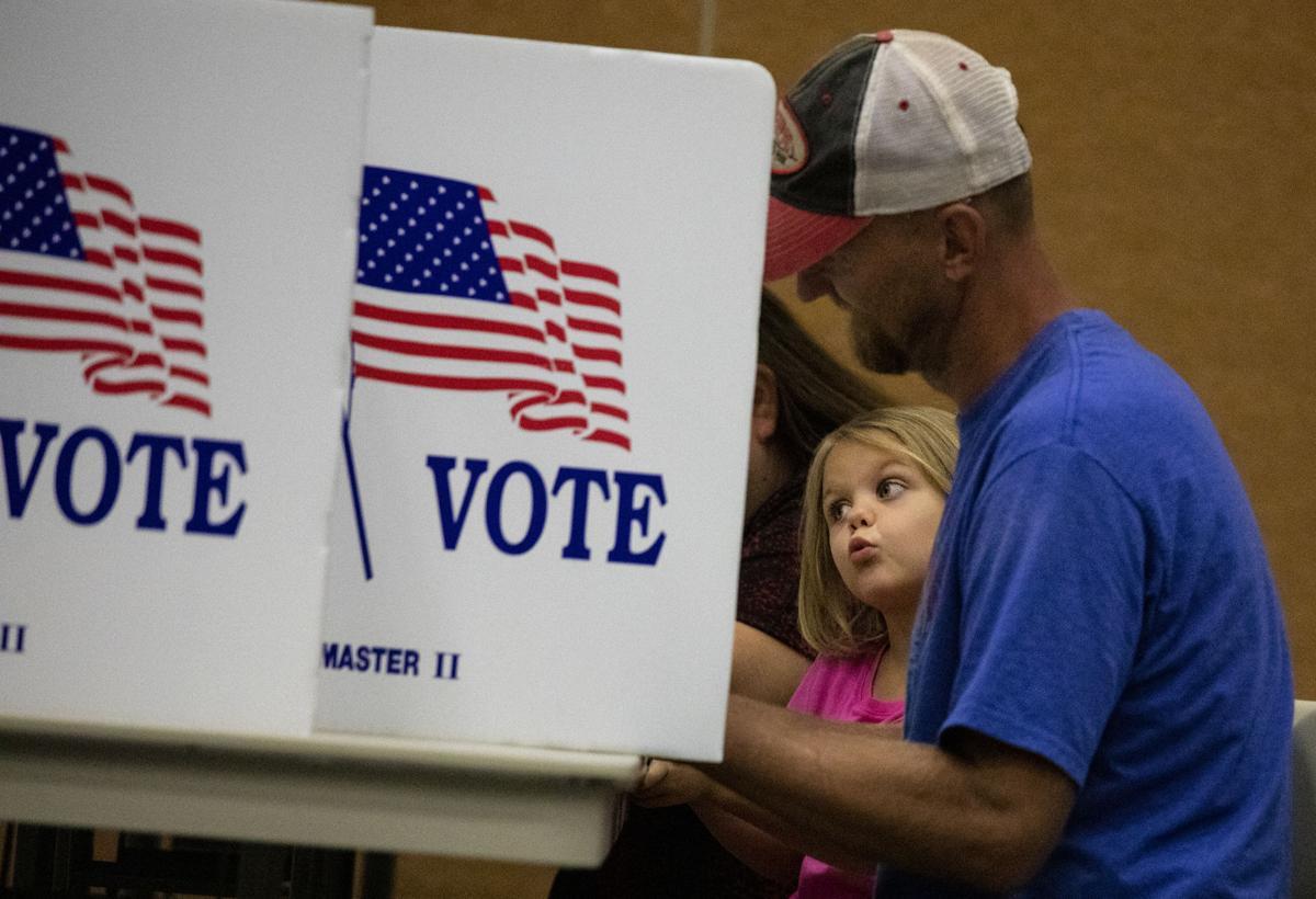 Watching dad cast a vote
