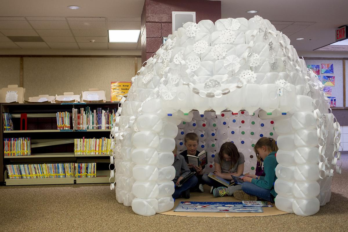 Conestoga librarian builds reading igloo out of reused for How to build an igloo out of milk jugs