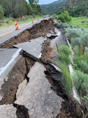 State Highway 325 roadbank collapse