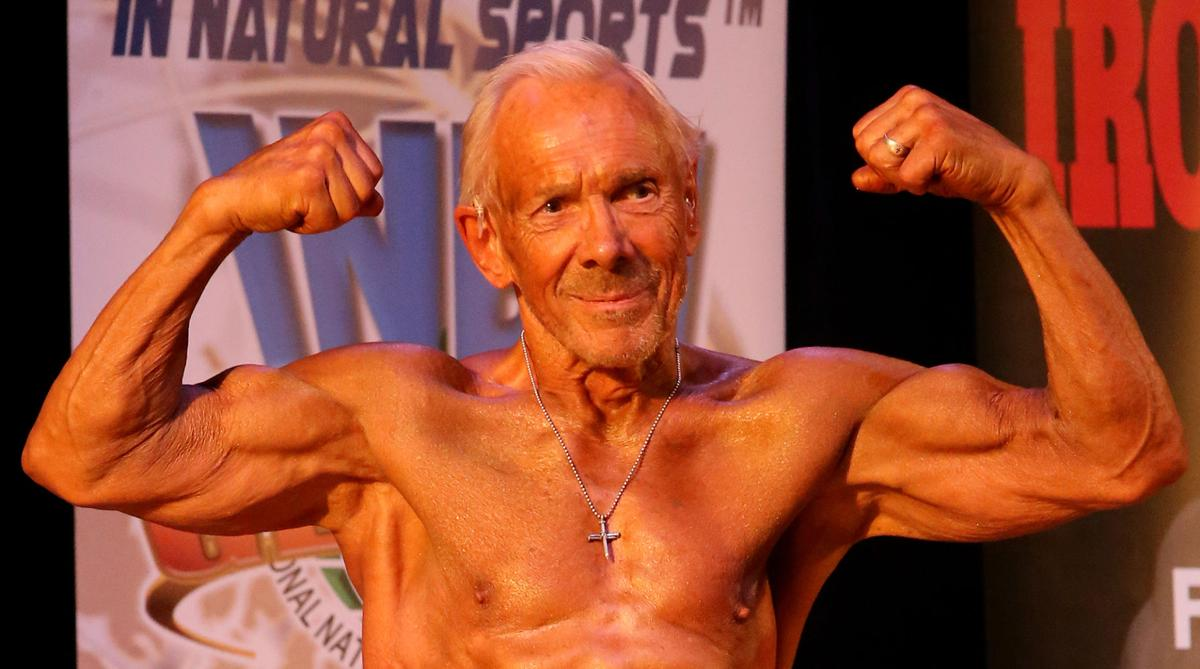 Larry McNutt bodybuilding as he nears 80 years of age