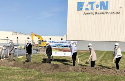 Local officials celebrate start of work on Eaton's new addition