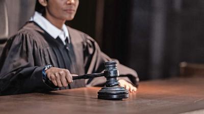 Judge slamming down a gavel