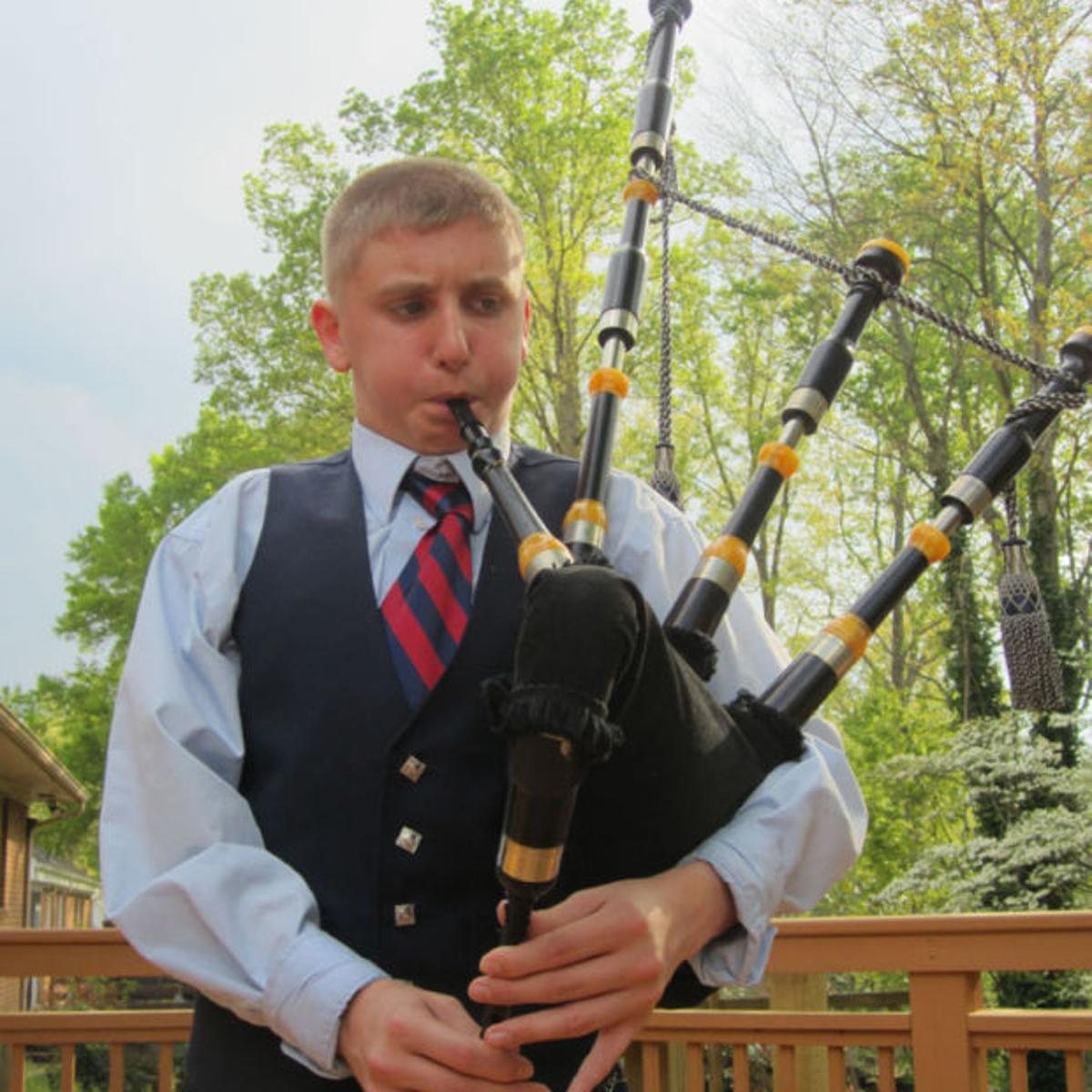 Bagpipe playing 13 year old part of musical family