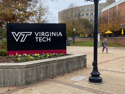 Virginia Tech sign campus stock