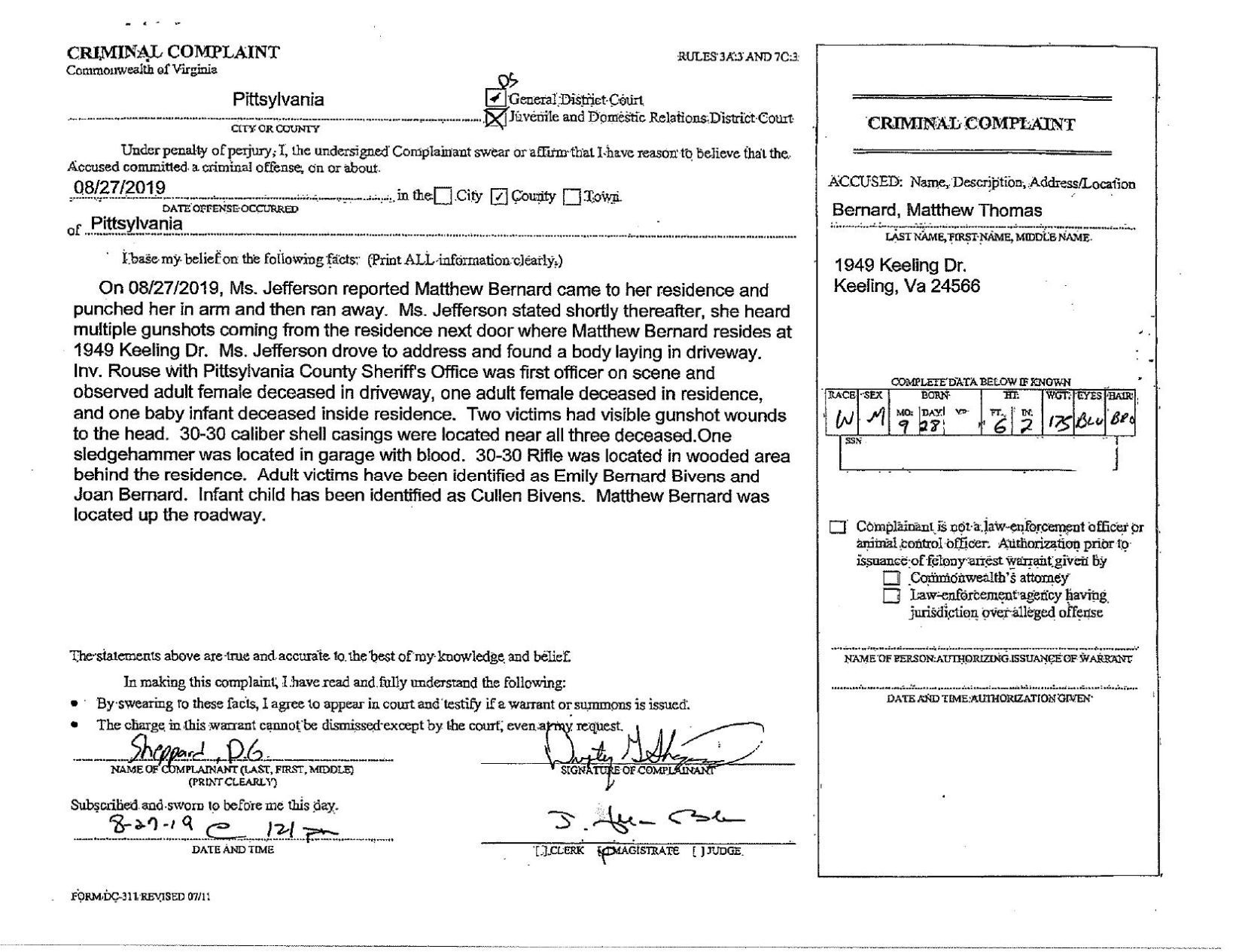 information content in felony arrest warrant document data