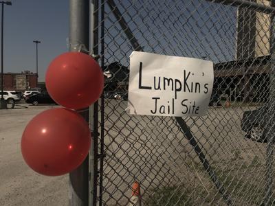 Makeshift sign for slave jail