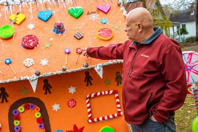 Strange Retired Navy Veteran Constructs Giant Gingerbread House As Download Free Architecture Designs Rallybritishbridgeorg