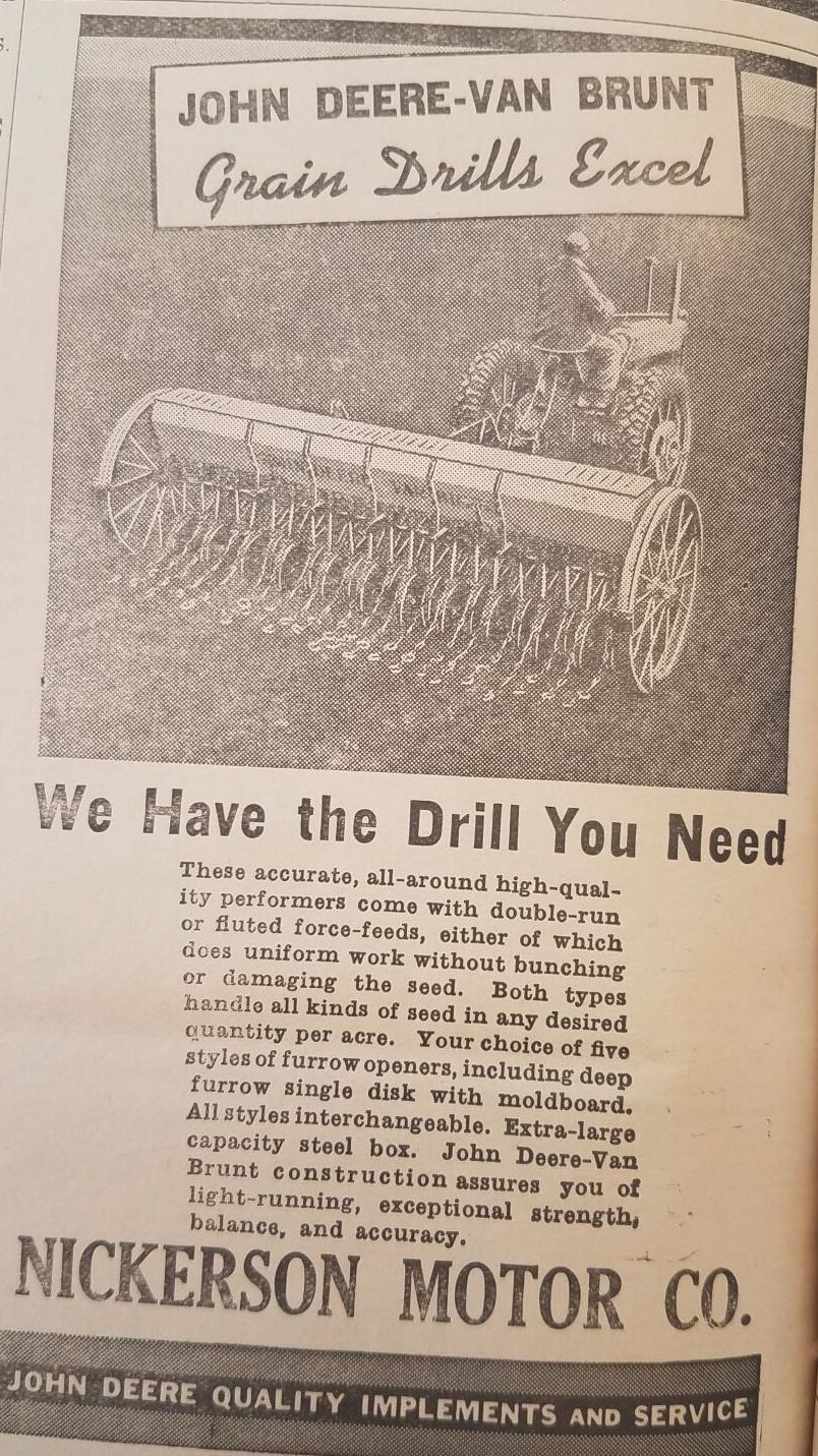 Nickerson Motor Grain Drill