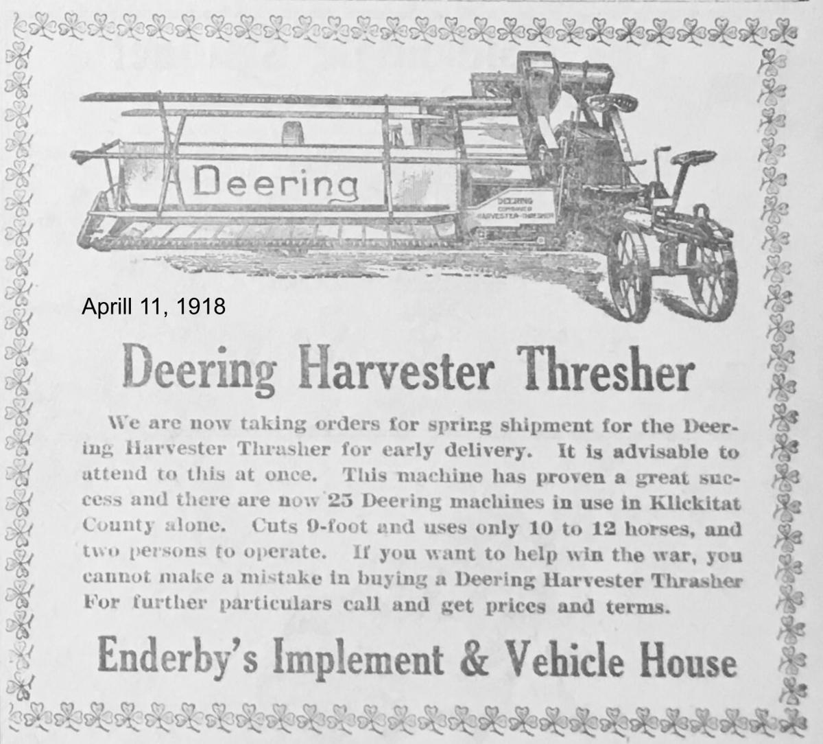 Deering Harvester Thresher Ad