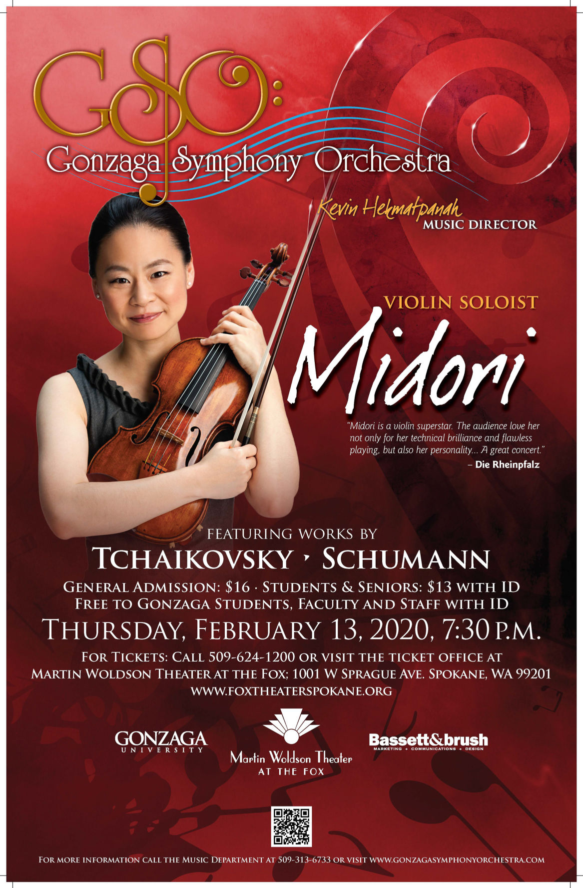 Famous violinist Midori joins Gonzaga Symphony Orchestra on stage
