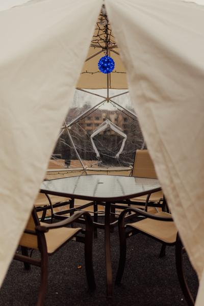 """Osprey offers private """"snow globe"""" seating to compliment its  riverfront view."""