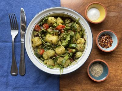 Roasted pesto gnocchi is a nutritious and tasty one-pan meal that Zags can make in a pinch.