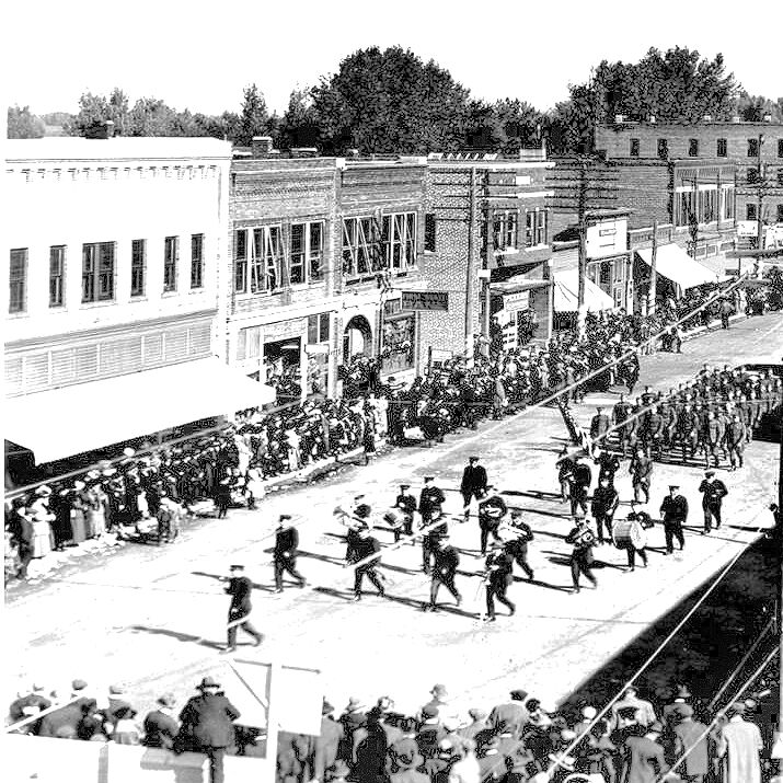 GV PP2 Parade, 1915-1918, possibly the German Band and Company L Pic 1 JPEG Format - BW.jpg